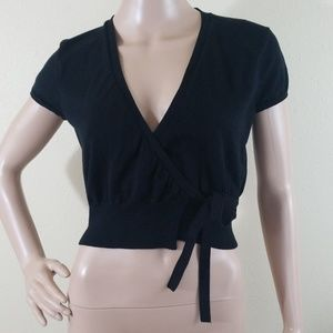Vintage Ralph Ralph Lauren Black Wrap Crop Top